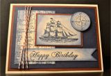 Mens Happy Birthday Cards Stampin Up Handmade Card Masculine Birthday Card Nautical