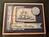 Mens Happy Birthday Cards Stampin Up Handmade Card Masculine Birthday Card Nautical