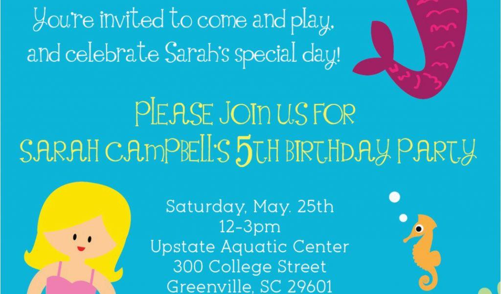 Mermaid Birthday Invitation Wording Little