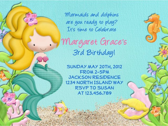 Mermaid Birthday Invitation Wording Party