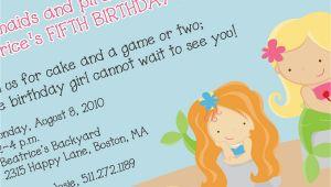 Mermaid Birthday Invitation Wording Party Invitations Free Cute Mermaid Party Invitations