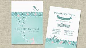 Mermaid themed Birthday Invitations Mermaid themed Baby Shower Invitation or Birth