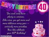 Message for 40th Birthday Card Happy 40th Birthday Quotes Images and Memes
