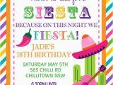 Mexican themed Birthday Invitations Personalised Personalized Mexican theme Siesta Fiesta