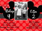 Mickey and Minnie Joint Birthday Party Invitations Joint Mickey and Minnie Mouse Invitations or Thank You Card