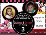 Mickey and Minnie Joint Birthday Party Invitations Mickey Minnie Mouse Invitation