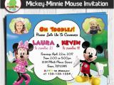 Mickey and Minnie Joint Birthday Party Invitations Minnie Mouse and Mickey Mouse Double Birthday Invitation Twins