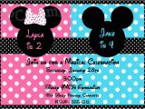 Mickey and Minnie Mouse Birthday Invitations for Twins Mickey and Minnie Twin Birthday Invitations Drevio