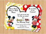 Mickey and Minnie Mouse Birthday Invitations for Twins Mickey Minnie Mouse Twins Birthday Party Personalized