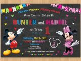 Mickey and Minnie Twin Birthday Invitations Mickey and Minnie Invitation Printable Mickey and Minnie