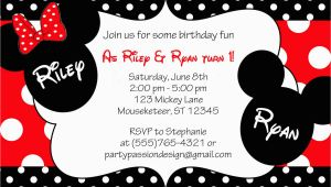 Mickey and Minnie Twin Birthday Invitations Mickey and Minnie Twin Birthday Invitation by