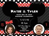Mickey and Minnie Twin Birthday Invitations Minnie and Mickey Mouse Birthday Party Invitation Twins