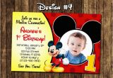 Mickey Mouse 1st Birthday Invites Mickey Mouse Baby First Birthday Party Photo Invitations