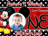 Mickey Mouse Birthday Invitations with Photo Mickey Mouse 1st Birthday Invitations Drevio Invitations