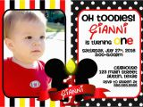 Mickey Mouse Birthday Invitations with Photo Mickey Mouse 1st Birthday Invitations Ideas Bagvania