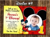 Mickey Mouse Birthday Invitations with Photo Mickey Mouse Baby First Birthday Party Photo Invitations