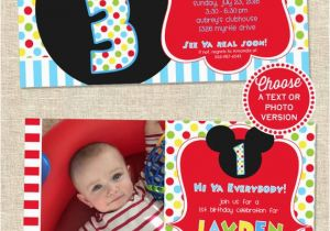 Mickey Mouse Clubhouse First Birthday Invitations Mickey Mouse Birthday Invitation Mickey Mouse Party