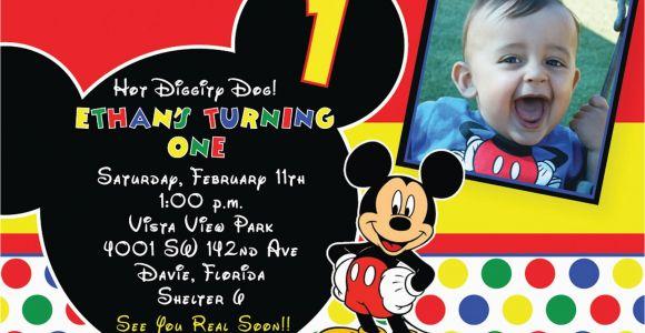 Mickey Mouse themed Birthday Invitations Free Printable 1st Mickey Mouse Birthday Invitations