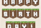 Minecraft Happy Birthday Banner Pdf Minecraft Birthday Set Banner Water Lables Food Tents