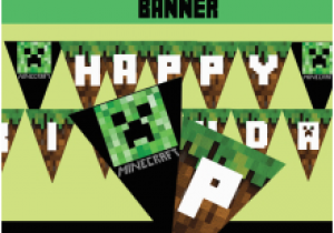 Minecraft Happy Birthday Banner Printable Free Printable Minecraft Birthday Banner