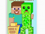 Minecraft Printable Birthday Card Inspired by Video Games Minecraft Birthday Card with
