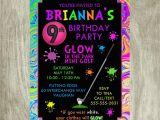 Mini Golf Birthday Invitations Neon Mini Golf Birthday Invitation Personalized Printable