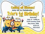 Minion 1st Birthday Invitations Despicable Me Inspired Invitation Minions Invitation 1st