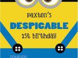 Minion 1st Birthday Invitations Despicable Minion Birthday Invitation Birthdays Minion