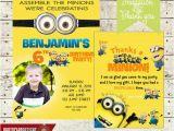 Minion 1st Birthday Invitations Minion Birthday Party Photo Invitation Fill In Thank You