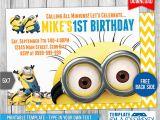 Minion 1st Birthday Invitations Minions Birthday Invitation 6 by Templatemansion On