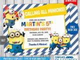 Minion 1st Birthday Invitations Minions Birthday Invitation 7 by Templatemansion On
