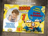 Minion 1st Birthday Invitations Minions Birthday Invitation Party Invite Photo Card Printable