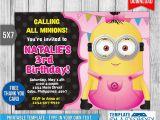 Minion Birthday Party Invites Girl Minion Invitation Birthday Invitation Psd by