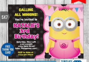 photograph regarding Free Printable Minion Invitations called Minion Birthday Get together Invitations Absolutely free Printable Minion Birthday