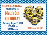 Minion Birthday Party Invites Minion Birthday Party Invitation Printable 4×6 or 5×7
