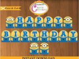 Minion Happy Birthday Banner Printable Despicable Me Banner Printable Minions Birthday Party