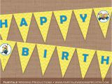 Minion Happy Birthday Banner Printable Despicable Me Minions Happy Birthday Banner Bunting Pennant