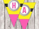 Minion Happy Birthday Banner Printable Pink Minion Birthday Banner Despicable Me Birthday Party