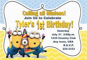 Minions Birthday Invitations Free Online Minion Cimvitation