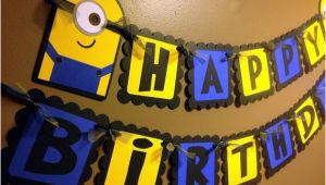 Minions Happy Birthday Banner Minion Despicable Me Inspired Happy Birthday Banner