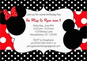 Minnie Birthday Invitation Minnie and Mickey Invitation orderecigsjuice Info