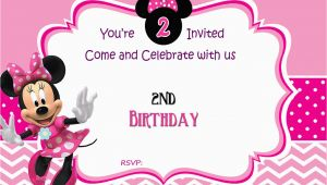 Minnie Invitations for Birthdays Free Minnie Mouse 2nd Birthday Invitation Template Free