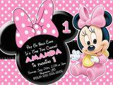 Minnie Invitations for Birthdays Minnie Mouse First Birthday Invitations Drevio