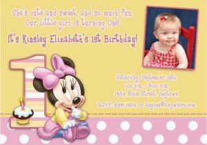 Minnie Mouse 1st Birthday Custom Invitations Free Download Minnie Mouse 1st Birthday Invitations
