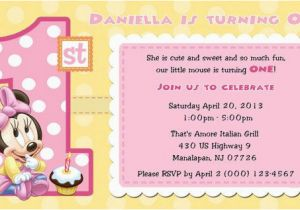 Minnie Mouse 1st Birthday Custom Invitations Minnie Mouse 1st Birthday Invitations Blank