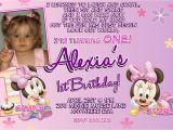 Minnie Mouse 1st Birthday Custom Invitations Minnie Mouse 1st Birthday Invitations Printable Digital File