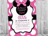 Minnie Mouse 1st Birthday Custom Invitations Minnie Mouse 1st Birthday Invitations Printable Girls Party