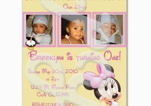 Minnie Mouse 1st Birthday Custom Invitations Minnie Mouse 1st Birthday Personalized Invitations