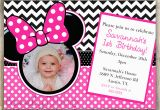 Minnie Mouse 1st Birthday Custom Invitations Minnie Mouse Chevron Birthday 1st Birthday Invitation 2nd