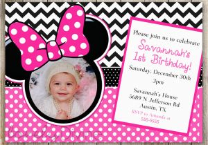 Minnie Mouse 1st Birthday Custom Invitations Minnie Mouse Chevron Birthday 1st Birthday Invitation 2nd